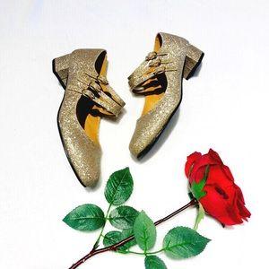 nyla 60s mod vegan gold glitter mary jane shoes